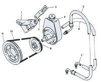 Power Steering Hose and Fittings, Pump, Pump Mounting